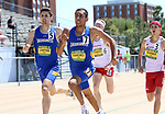 FARGO, ND - MAY 13: Alejandro Sanchez from South Dakota State University battles teammate Cal Lawton down the stretch in the men's 800 meter run Saturday at the 2017 Summit League Outdoor Track Championship at the Ellig Sports Complex in Fargo, ND. (Photo by Dave Eggen/Inertia)