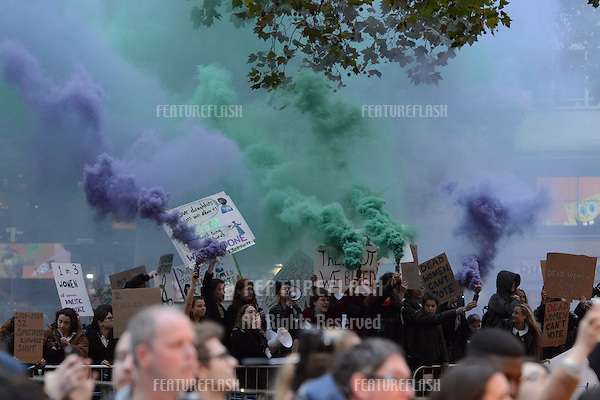 Demonstration for Women's Rights at the BFI London Film Festival premiere of &quot;Suffragette&quot; at the Odeon Leicester Square, London.<br /> October 7, 2015  London, UK<br /> Picture: Dave Norton / Featureflash