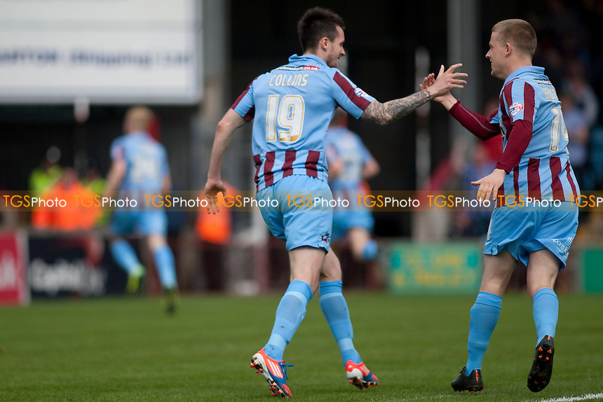 opening goal celebration<br />  - Scunthorpe United vs Oxford United - Sky Bet League Two Football at Glanford Park, Scunthorpe - 21/04/14 - MANDATORY CREDIT: Mark Hodsman/TGSPHOTO - Self billing applies where appropriate - 0845 094 6026 - contact@tgsphoto.co.uk - NO UNPAID USE
