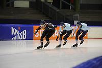SCHAATSEN: HEERENVEEN: IJsstadion Thialf, 04-02-15, Training World Cup, Haralds Silovs (LAT), Bart Swings (BEL), Alexej Baumgärtner (GER), ©foto Martin de Jong