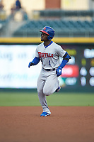 Jonathan Davis (1) of the Buffalo Bisons rounds the bases after hitting a home run against the Caballeros de Charlotte at BB&T BallPark on July 23, 2019 in Charlotte, North Carolina. The Bisons defeated the Caballeros 8-1. (Brian Westerholt/Four Seam Images)