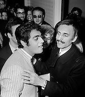 Manhattan, New York City, USA. February 17th, 1968. French singer Enrico Macias (L), with composer Paul Mauriat (R), greets fans after his first concert in the U.S. at New York's Carnegie Hall.