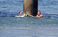 Chris Ward and Andy Irons. 2009 ASP WQS 6 Star US Open of Surfing in Huntington Beach, California on July 23, 2009. ..