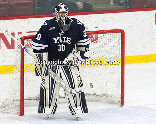 Patrick Spano (Yale - 30) - The Harvard University Crimson tied the visiting Yale University Bulldogs 1-1 on Saturday, January 21, 2017, at the Bright-Landry Hockey Center in Boston, Massachusetts.