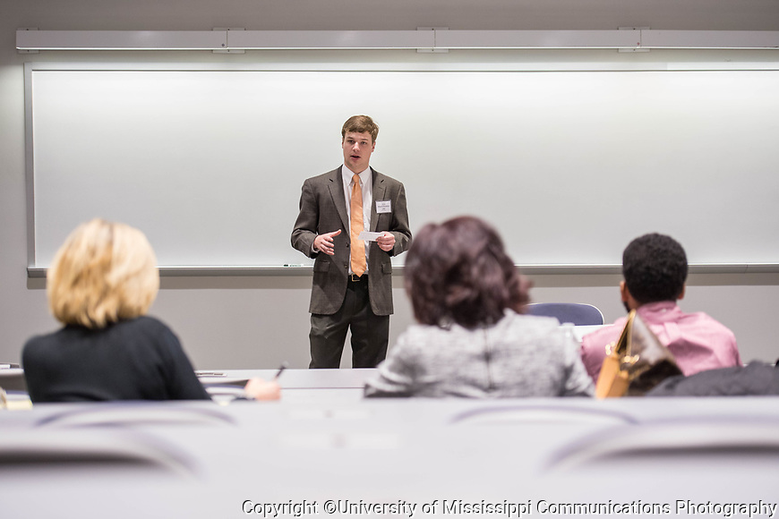 Ole Miss student Edward Lake participates in the Speaker's Edge competition.  Photo by Kevin Bain/University Communications Photography