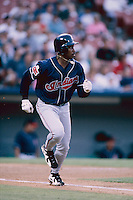 Kenny Lofton of the Cleveland Indians at Anaheim Stadium in Anaheim,California during the 1996 season. (Larry Goren/Four Seam Images)
