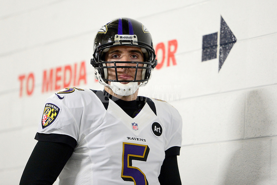 Jan 12, 2013; Denver, CO, USA; Baltimore Ravens quarterback Joe Flacco prior to the game against the Denver Broncos during the AFC divisional round playoff game at Sports Authority Field.  Mandatory Credit: Mark J. Rebilas-