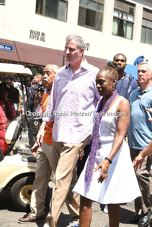 Al Sharpton,  Mayor Bill de Blasio and Chirlane McCray  attend the New York City Gay Pride March 2016 on June 26, 2016 on Fifth Avenue in New York City, New York, USA.<br /> <br /> photo by Robin Platzer/Twin Images<br />  <br /> phone number 212-935-0770
