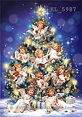 Interlitho, CHRISTMAS CHILDREN, paintings+++++,x-mas tree,angels,KL5987,#xk# Engel, angeles
