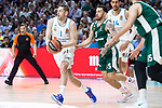 Real Madrid Fabien Causeur and Panathinaikos Mike James during Turkish Airlines Euroleague Quarter Finals 4th match between Real Madrid and Panathinaikos at Wizink Center in Madrid, Spain. April 27, 2018. (ALTERPHOTOS/Borja B.Hojas)