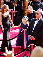 Rachel Shenton, from left, Maisie Sly and Chris Overton arrive at the Oscars on Sunday, March 4, 2018, at the Dolby Theatre in Los Angeles. (Photo by Eric Jamison/Invision/AP)