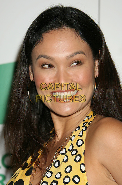 TIA CARRERE .Global Green USA's 5th Annual Pre-Oscar Party held at Avalon Hollywood, Hollywood, California, USA..February 20th, 2008.headshot portrait halterneck yellow white black .CAP/ADM/RE.©Russ Elliot/AdMedia/Capital Pictures.