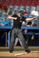 Umpire Ryan Wills during the first game of a doubleheader between the Trenton Thunder and Hartford Yard Goats on June 1, 2016 at Sen. Thomas J. Dodd Memorial Stadium in Norwich, Connecticut.  Trenton defeated Hartford 4-2.  (Mike Janes/Four Seam Images)