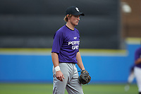 Will Farrell (11) of Charlotte Christian High School in Charlotte, NC during the Atlantic Coast Prospect Showcase hosted by Perfect Game at Truist Point on August 22, 2020 in High Point, NC. (Brian Westerholt/Four Seam Images)