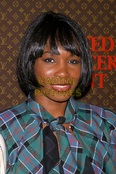VENUS WILLIAMS .The 2nd Annual Louis Vuitton United Cancer Front Gala, Universal City, California, USA,.November 8th 2004..portrait headshot tartan black wig? fringe.Ref: ADM.www.capitalpictures.com.sales@capitalpictures.com.©Capital Pictures.