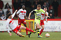 Dani Lopez of Stevenage tackles Paddy Madden of Yeovil . Stevenage v Yeovil Town- npower League 1 -  Lamex Stadium, Stevenage - 13th April, 2013. © Kevin Coleman 2013.. . . . .. . . .  . . .  .