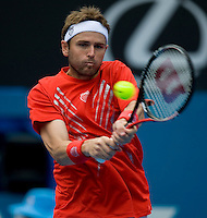 Mardy Fish (USA) against Marcus Baghdatis (GRE) in the Semi Finals of the Mens Singles. Baghdatis beat Fish 6-4 6-7 7-6..International Tennis - Medibank International Sydney - Wed 15 Jan 2010 - Sydney Olympic Park  Tennis Centre- Sydney - Australia ..© Frey - AMN Images, 1st Floor, Barry House, 20-22 Worple Road, London, SW19 4DH.Tel - +44 20 8947 0100.mfrey@advantagemedianet.com