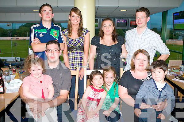 NIGHT AT THE DOGS: The Buckley family of Ballydesmond sponsors of the Buckley Builders Providers A2 570 Final at the Tralee Spina Bifida Association Night at the Dogs at the Kingdom Greyhound Stadium on Friday front l-r: Niamh and Tadhag Buckley, Ava Sullivan, Ciara and Aileen Buckley and Gearoid Sullivan. Back l-r: Barry, Joanne, Jean and Maurice Buckley.