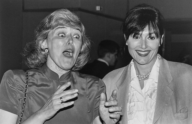"""Rep. Patricia Schroeder, D-Colo., and Nora Dunn at her """"roast"""" on June 24, 1996. (Photo by Maureen Keating/CQ Roll Call)"""