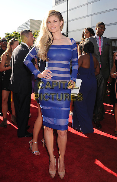 Marisa Miller<br /> ESPY Awards 2013 held at Nokia Theatre LA Live<br /> Los Angeles, California, USA.<br /> 17th July 2013<br /> full length blue sheer dress stripe hand on hip  <br /> CAP/ROT/TM<br /> &copy;Tony Michaels/Roth Stock/Capital Pictures