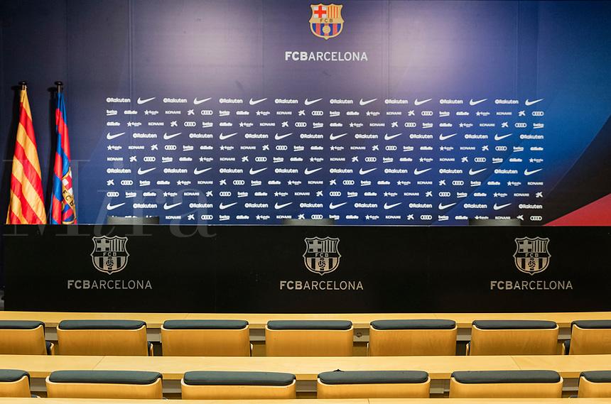 FC Barcelona media room in the Camp Nou stadium interior, Barcelona, Spain.