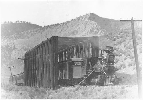 D&amp;RG passenger train just below Ridgway at Uncompahgre River.<br /> RGS  near Ridgway, CO  1908