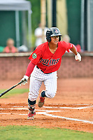 Elizabethton Twins left fielder Lean Marrero (39) runs to first base during game two of the Appalachian League Championship Series against the Princeton Rays at Joe O'Brien Field on September 5, 2018 in Elizabethton, Tennessee. The Twins defeated the Rays 2-1 to win the Appalachian League Championship. (Tony Farlow/Four Seam Images)