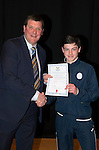 St Johnstone FC Academy Awards Night...06.04.15  Perth Concert Hall<br /> Tommy Wright presents a certificate to Cameron Thomson<br /> Picture by Graeme Hart.<br /> Copyright Perthshire Picture Agency<br /> Tel: 01738 623350  Mobile: 07990 594431