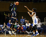 01 February 2016: Notre Dame's Arike Ogunbowale (left) blocks a pass by Duke's Amber Henson (right). The Duke University Blue Devils hosted the University of Notre Dame Fighting Irish at Cameron Indoor Stadium in Durham, North Carolina in a 2015-16 NCAA Division I Women's Basketball game. Notre Dame won the game 68-61.