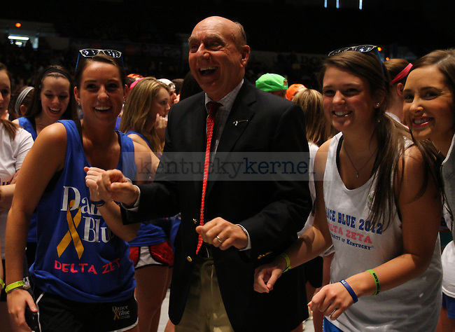 ESPN sportscaster Dick Vitale dances with members of the Delta Zeta sorority at DanceBlue 2013 at Memorial Coliseum in Lexington, Ky., on Saturday, February 23, 2013. Photo by Michael Reaves | Staff
