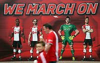 "Southampton fans walks past a ""We March On"" graffiti outisde the Stadium during the Premier League match between Southampton and Swansea City at the St Mary's Stadium, Southampton, England, UK. Saturday 12 August 2017"