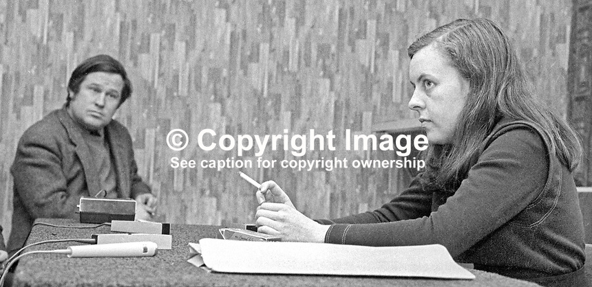 Bernadette Devlin, MP, Independent, Mid-Ulster, at a Press Conference in Belfast to announce her intention to fight the Mid-Ulster seat in the June 1970 UK General Election. 17th May 1979.  The journalist in the photo is Fergus Pyle, then Northern Editor, Irish Times.   197005150218. <br /> <br /> Copyright Image from Victor Patterson,<br /> 54 Dorchester Park, <br /> Belfast, UK, BT9 6RJ<br /> <br /> t1: +44 28 9066 1296 (from Rep of Ireland 048 9066 1296)<br /> t2: +44 28 9002 2446 (from Rep of Ireland 048 9002 2446)<br /> <br /> m: +44 7802 353836<br /> <br /> e: victorpatterson@me.com<br /> www.victorpatterson.com<br /> <br /> Please see my Terms and Conditions of Use at www.victorpatterson.com. It is IMPORTANT that you familiarise yourself with them.<br /> <br /> Images used on the Internet must be visibly watermarked i.e. &copy; Victor Patterson<br /> within the body of the image and copyright metadata must not be deleted. Images <br /> used on the Internet have a size restriction of 4kbs and will be chargeable at current<br />  NUJ rates unless agreed otherwise.<br /> <br /> This image is only available for the use of the download recipient i.e. television station, newspaper, magazine, book publisher, etc, and must not be passed on to any third <br /> party. It is also downloaded on condition that each and every usage is notified within 7 days to victorpatterson@me.com<br /> <br /> The right of Victor Patterson to be identified as the author is asserted in accordance with The Copyright Designs And Patents Act (1988). All moral rights are asserted.