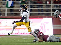 October 13th, 2012: California's Keenan Allen tries to break a tackle by Washington State's Cyrus Coen during a game at Martin Stadium in Pullman, Wa    California defeated Washington State 31 - 17