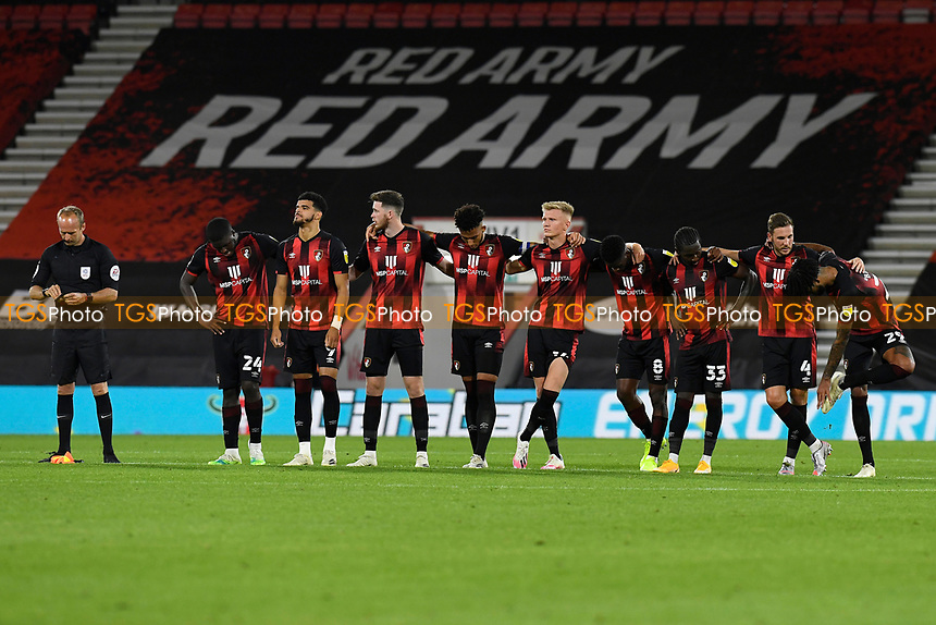 AFC Bournemouth players prepare for the penalty shootout during AFC Bournemouth vs Crystal Palace, Carabao Cup Football at the Vitality Stadium on 15th September 2020