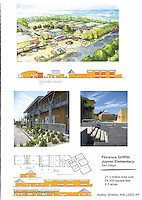 Florence Griffith Joyner Elementary School, San Diego, completed in 2010.The rendering at top is by W.Scott Ballard. Elevations and design of buildings by Audrey Stratton, AIA.