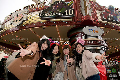 January 22, 2015, Osaka, Japan : Visitors pose for the camera at Universal Studios Japan. The UNIVERSAL COOL JAPAN event showcases Japan's top entertainment brands (EVANGELION: THE REAL 4D, Attack on Titan: THE REAL, BIOHAZARD: THE SCAPE and MONSTER HUNTER: THE REAL) to the world and runs from January 23 to May 10 2015 at Universal Studios Japan. (Photo by Rodrigo Reyes Marin/AFLO)