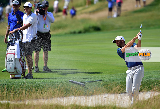 Dustin JOHNSON (USA) plays out of the famous Church Pews at 4th during fourth round 116th US Open 2016 ,Oakmont Country Club, Pittsburgh,Pennsylvania,USA.