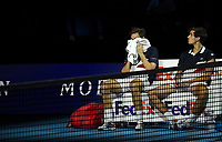 Pierre-Hughes Herbert and partner  Nicolas Mahut emotional at losing against Jack Sock and Mike Bryan in their doubles Final match today<br /> <br /> Photographer Hannah Fountain/CameraSport<br /> <br /> International Tennis - Nitto ATP World Tour Finals Day 8 - O2 Arena - London - Sunday 18th November 2018<br /> <br /> World Copyright &copy; 2018 CameraSport. All rights reserved. 43 Linden Ave. Countesthorpe. Leicester. England. LE8 5PG - Tel: +44 (0) 116 277 4147 - admin@camerasport.com - www.camerasport.com
