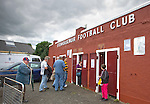 Alloa Athletic football supporters entering the away end at Ochilview stadium, Larbert, before their team's Irn Bru Scottish League second division match against Stenhousemuir. Alloa won the match by one goal to nil against their local rivals in a match watched by 619 spectators.