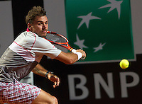 Lo svizzero Stan Wawrinka in azione durante la semifinale contro il connazionale Roger Federer agli Internazionali d'Italia di tennis a Roma, 16 maggio 2015. <br /> Switzerland's Stan Wawrinka in action during the semifinal match against his compatriot Roger Federer at the Italian Open tennis tournament in Rome, 15 May 2015.<br /> UPDATE IMAGES PRESS/Riccardo De Luca