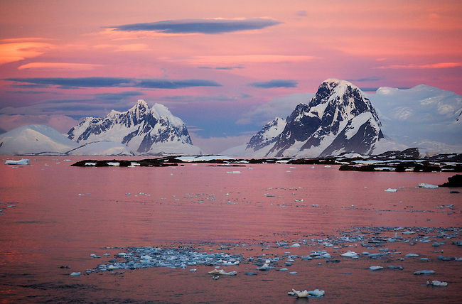 Dusk along the Antarctic Peninsula, Argentine Islands and mountains.