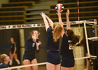 NWA Democrat-Gazette/FLIP PUTTHOFF <br /> Kyler Greenlee (9) makes a play for Har-Ber on Saturday in a match against Greenwood at the Bentonville Early Bird volleyball tournament. Allison Rose (28) defends for Greenwood.