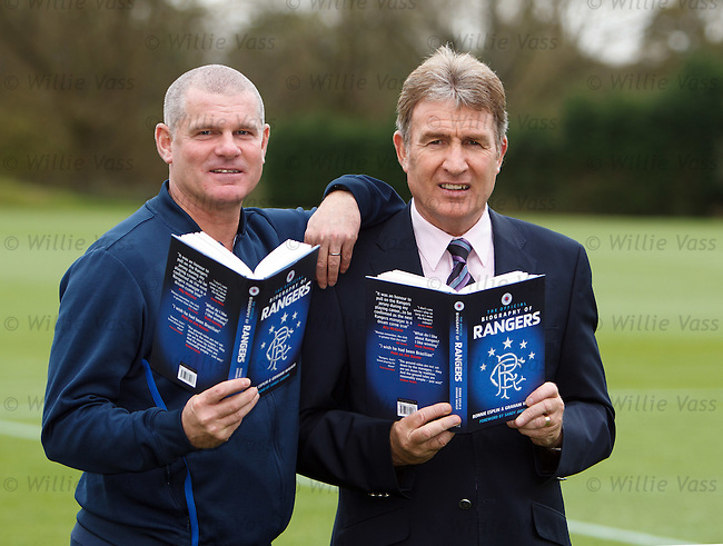 Ian Durrant and Sandy Jardine at Murray park with the new book The Official Biography of Rangers