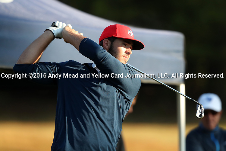 30 October 2016: Liberty University's Isaiah Logue. The First  and Second Rounds of the 2016 Bridgestone Golf Collegiate NCAA Men's Golf Tournament hosted by the University of North Carolina Greensboro Spartans was held on the West Course at the Grandover Resort in Greensboro, North Carolina.