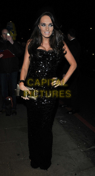 Tamara Ecclestone.attended the Noble Gift Gala in aid of The Great Initiative & Seven Bar Foundation, Dorchester hotel, Park Lane, London, England, UK, .10th December 2011..full length black sequined sequin long maxi dress  ring clutch bag hand on hip bow handle .CAP/CAN.©Can Nguyen/Capital Pictures.