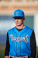 Tampa Tarpons pitcher Trevor Stephan (32) before a game against the Lakeland Flying Tigers on April 6, 2018 at Publix Field at Joker Marchant Stadium in Lakeland, Florida.  Lakeland defeated Tampa 6-5.  (Mike Janes/Four Seam Images)