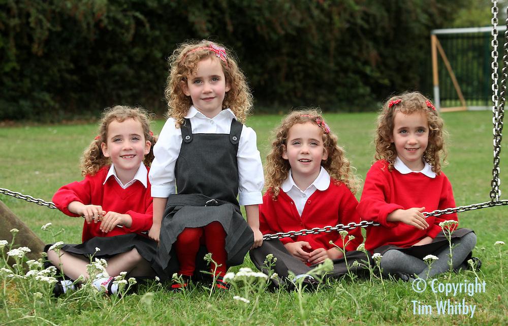 The Uks Only Identical Quadruplets Wear Sainsburys School Uniform