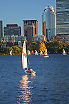 Sailboats on the Charles River, Boston in background. MA