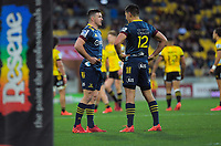 Bryan Gatland and Patelesio Tomkinson (12) during the Super Rugby Aotearoa match between the Hurricanes and Highlanders at Sky Stadium in Wellington, New Zealand on Sunday, 12 July 2020. Photo: Dave Lintott / lintottphoto.co.nz