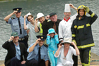 Like the band Village People, Killarney working people prepare for the 'Hats off to Cancer', a campaign to make children aware of the protection against cancer by wearing hats and which will be launched at the Killarney Summerfest Ball on Thursday June 30th were front from left, Hotelier Patrick O'Donoghue, Garda Erroll Tuohy, Kasha and Urtsula Flannery and at back, Garda Chris Manton, Caroline O'Sullivan, Donnacha Galvin, Deputy jackie healy-Rae, Chef John Drummond and Firewoman Sinead Galvin <br />